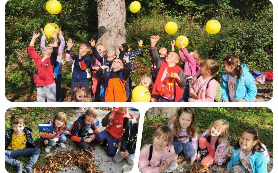 Prvošolci preživeli dan v gozdu